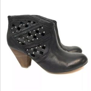 Carlos Santana Black Lazer Cut Studded Ankle Boots